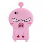 3D Cartoon Pig Style Protective Silicone Case for Iphone 4S / Iphone 4 - Pink