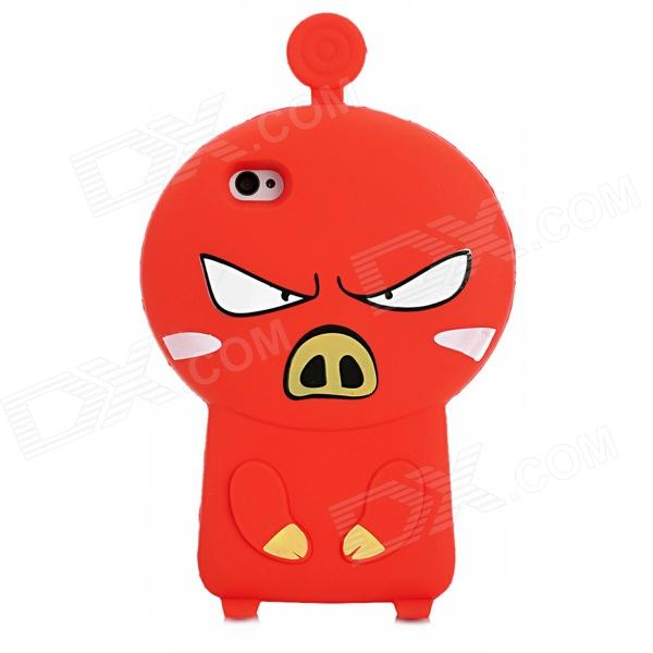 3D Cartoon Pig Style Protective Silicone Case for Iphone 4S / Iphone 4 - Red ziqiao cartoon cat style protective soft silicone back case for iphone 4 4s black red