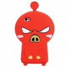 3D Cartoon Pig Style Protective Silicone Case for Iphone 4S / Iphone 4 - Red