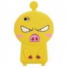 3D Cartoon Pig Style Protective Silicone Case for Iphone 4S / Iphone 4 - Yellow