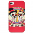 Airwalks True Love is Forever Skull Couple Style Protective PC Back Case for Iphone 4S - Red + Black