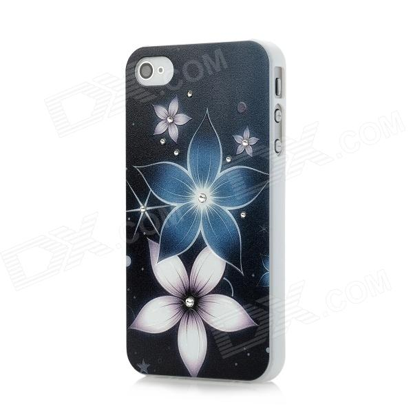 Aibiyou Relief Flower Style Swarovski Elements PC Back Case for Iphone 4S / Iphone 4 - Dark Blue wc king cool man relief style protective pc back case for iphone 4 iphone 4s black