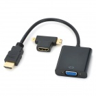 HDMI to VGA M-F Converter + Micro/Mini HDMI to HDMI Adapter - Black