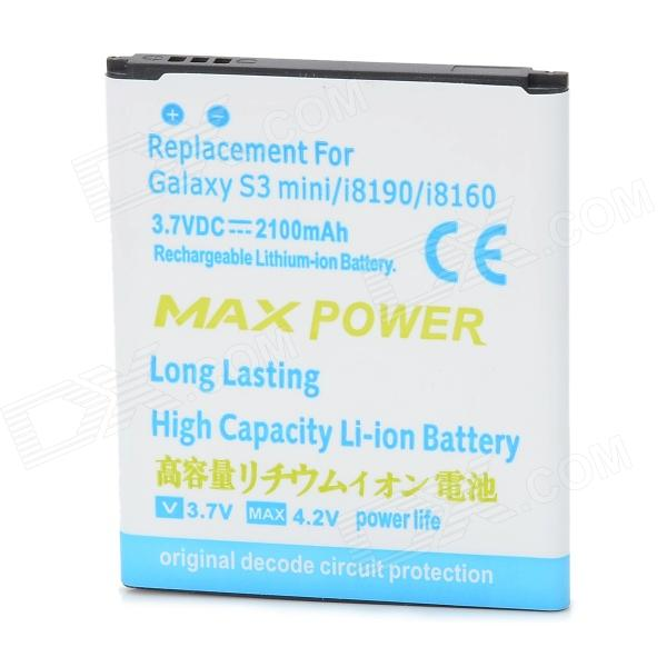 Replacement 2100mAh Li-ion Battery for Samsung Galaxy S3 Mini i8190 i8160 - White + Blue mallper mp i8160 3 7v 1275mah replacement li ion battery for samsung i8160 i8190 s3 mini