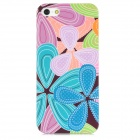 Airwalks Flower Petal Style Protective PC Back Case for iPhone 5 - Blue + Light Purple + Green