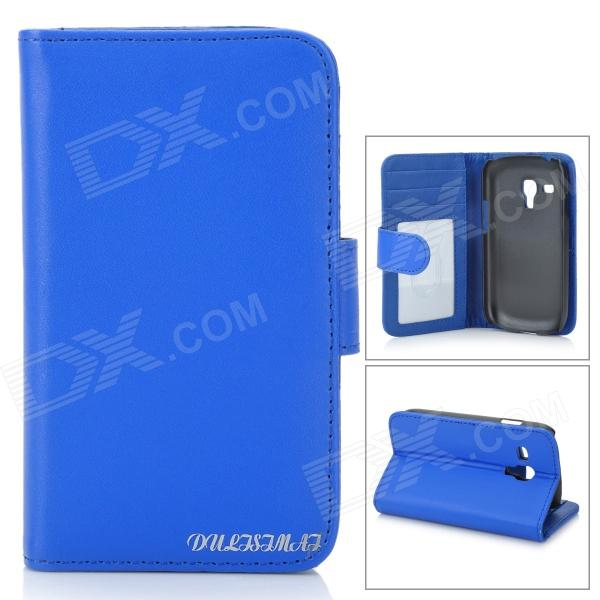 Folio-Open Protective PU Leather Cover Case w/ Card Slots for Samsung i8190 Galaxy S3 Mini - Blue