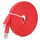 USB to 8-Pin Lightning Male to Male Data / Charging Flat Cable for iPhone 5 / iPad 4 - Red (3M)