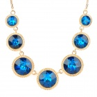 Fashion Rhinestone CrystalNecklace for Women - Golden + Blue
