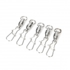 Trulinoyo 2# High Speed Swivel Stainless Steel Fishing Hook Snap Connector - Silver (5 PCS)