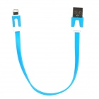 USB Male to 8 Pin Lightning Data / Charging Flat Cable for iPhone 5 + iPad 4 - Blue (20CM)