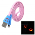 Lächeln rotes Blinklicht USB Stecker auf 8 Pin Lightning Data / Charging Flat Cable - Pink + Blue (1M)