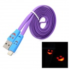 Lächeln rotes Blinklicht USB Stecker auf 8 Pin Lightning Data / Charging Flat Cable - Purple + Blue (1M)
