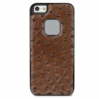 BASEUS TRAPIPH5-11 Ostrich Pattern PU Leather Back Case for Iphone 5 - Brown + Black
