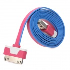 A-07 USB Male to 30 Pin Lightning Data Cable for iPhone 4 / 4S - Deep Pink + White + Blue