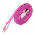 USB Male to 8 Pin Lightning Data / Charging Flat Cable for iPhone 5 + iPad 4 - Purplish Red (20CM)
