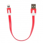 USB Male to 8 Pin Lightning Data / Charging Flat Cable for iPhone 5 + iPad 4 - Red (20CM)