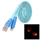 Smile Red Flashing Light USB Male to 8 Pin Lightning Data / Charging Cable - Light Blue + Blue (1M)