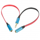 3.5mm Male to 2 Female Music Share Audio Splitter Cable - Blue + Red + Black