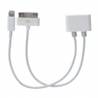 M30 Micro USB to 30 Pin / 8 Pin Charging / Data Cable for iPhone 5 - White (18CM)