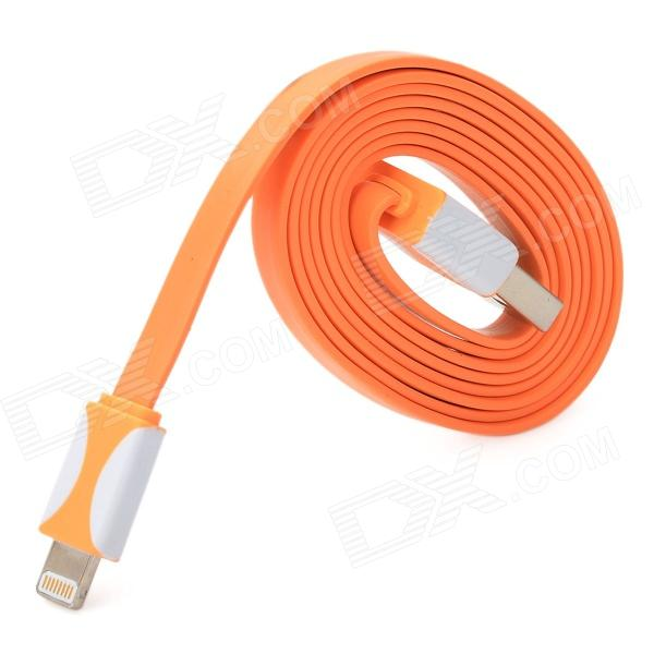 USB Male to 8 Pin Lightning Data / Charging Flat Cable for iPhone 5 + iPad 4 - Orange (95CM)