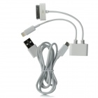 M301 Micro USB Male to USB Male + Micro USB to 30 Pin / 8 Pin Data Cable for iPhone 5 - White (1M)