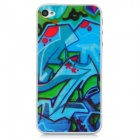 Protective Graffiti Style Clear Screen Protectors for Iphone 4 / 4S - Blue