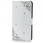 Protective Crystal Flower Flip-Open PU Leather Case for iPhone 5 - White