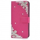 Protective Crystal Flower Flip-Open PU Leather Case for Iphone 5 - Deep Pink