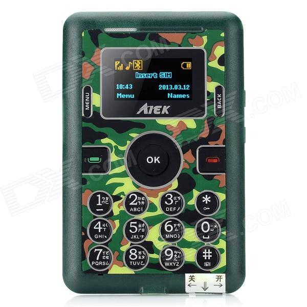 "AIEK Mini-M2 Card Style 1.0"" LCD Quad-band GSM Bar Phone w/ Bluetooth / TF - Camouflage Green"