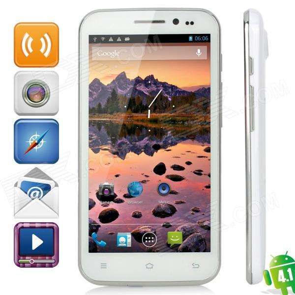 "H7500 + Android 4.1 Quad-Core WCDMA Bar Phone w / 5.0 ""Capacitive Screen, Wi-Fi et GPS - Blanc"