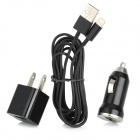 Car Charging Adapter + US Plug AC Charger + USB Charging Cable for iPhone 5 - Black + Silver (2M)