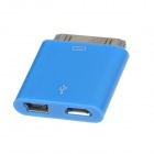 30 Pin to Micro USB + Mini USB Adapter for iPhone 4 / 4S - Blue