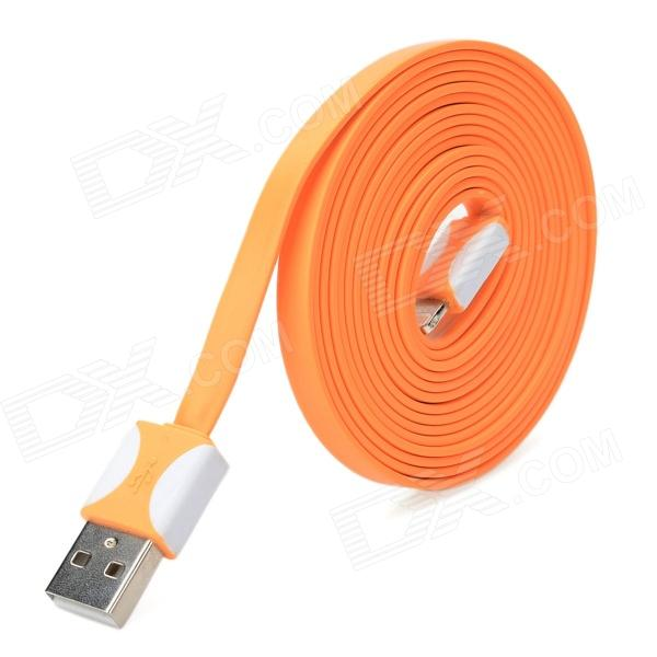 USB Male to 8 Pin Lightning Data / Charging Flat Cable for iPhone 5 + iPad 4 - Orange + White (2M)