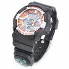 SD-1220 Stylish Diving Quartz + Digital Wrist Watch w/ EL Backlit - Black + Orange (1 x CR2016)