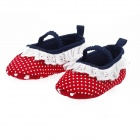 Cotton Lovely Princess Baby Shoes - Red + White + Dark Blue (Pair)