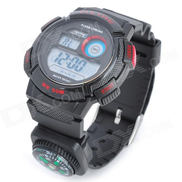 A1278 Men's Stylish Diving Quartz Wrist Watch w/ EL Backlit - Black + Red (1 x CR2025)