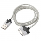 LED3 LED Flashing Data / Charging Cable for iPhone 4 - Translucent White + Black + Silver ( 96CM)