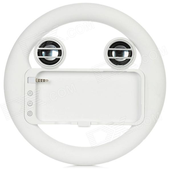 Steering Wheel Game Controller w/ Speaker for iPhone 5 - White