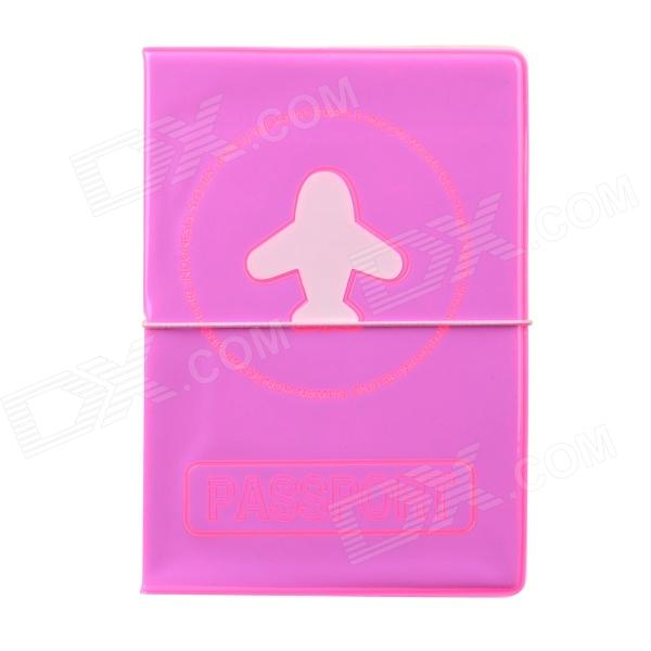 Airplane Pattern Protective PVC Glow-in-the-Dark Passport ID Cover Case - Deep Pink