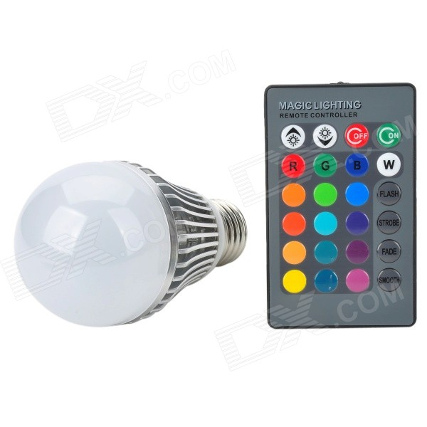 E27 5W 270lm LED RGB Light w/ Controller - Silver + White (85~265V) lexing lx r7s 2 5w 410lm 7000k 12 5730 smd white light project lamp beige silver ac 85 265v