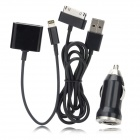 P-308 Car Cigarette Powered Adapter + 30 Pin to 8 Pin Lightning Cable + Charging cable for iPhone 5