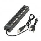 USB 2.0 7-Port HUB w/ Individual Switch - Black