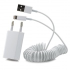 EU Plug AC Charger + USB Male to 8 Pin Lightning Data / Charging Cable for iPhone 5 - White (177CM)