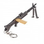 Unique Assembled Pattern Zinc Alloy Gun Style Keychain - Bright Black