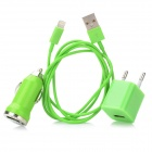 EPA-308 Car Charging Adapter + EU Plug AC Charger + USB Charging Cable for iPhone 5 - Green (1M)