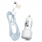 Cigarette Powered Dual USB Adapter w/ USB Male to 8 Pin Male Cable Set - - White + Grey (123CM)