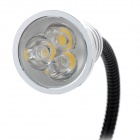3W 285lm 3200K 3-LED Warm White Reading Lamp w/ Clip - Black + Silver (2-Round-Pin Plug / 85~265V)