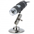 503 50~500X USB Digital Microscope Magnifier w/ 8-LED White Light - Black + Silver