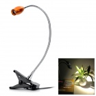 3W 220lm 3200K Warm White LED Bedside Lamp w/ Clip - Golden + Silver (2-Round-Pin Plug / 85~265V)