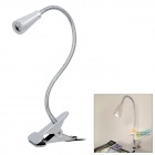 3W 220lm 6500K White LED Desk Lamp w/ Clip - Silver (2-Round-Pin Plug / 85~265V)
